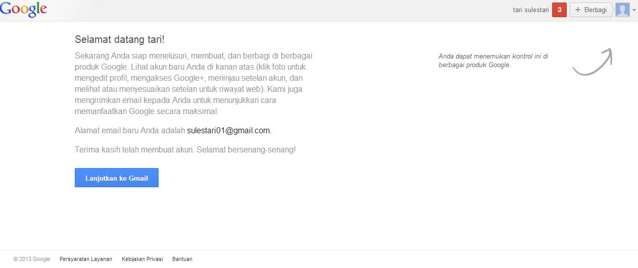 klik lanjutkan ke gmail untuk menggunakan akun gmail anda seperti